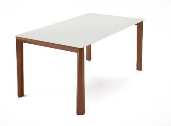 Jedálenský stôl Universe-130 (orech - nohy, leptané sklo biele - doska)