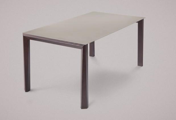Jedálenský stôl Universe-130 (wenge - nohy, leptané sklo sivé - doska)