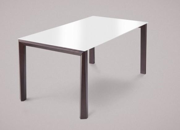 Jedálenský stôl Universe-130 (wenge - nohy, sklo extra biele - doska)