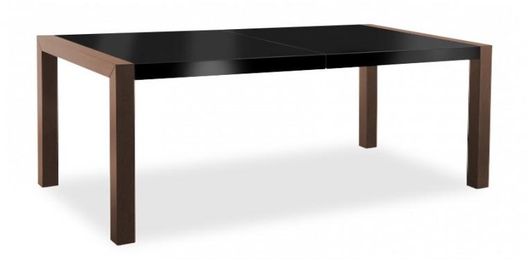 Jedálenský stôl Vetro (doska čierna/kostra čokoládový jasan)