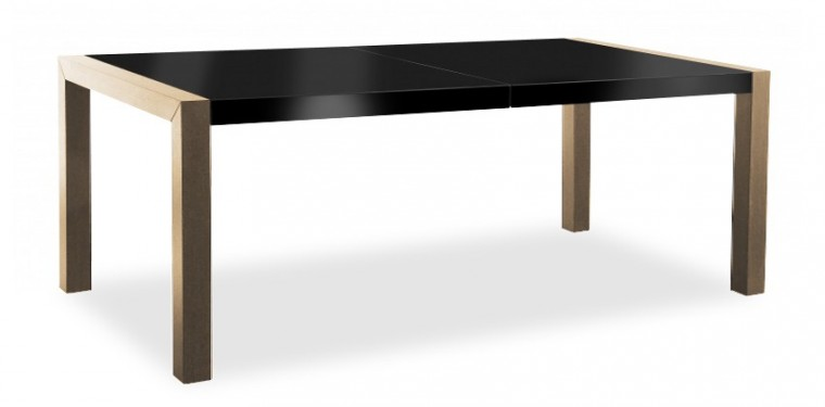 Jedálenský stôl Vetro (doska čierna/kostra dub)