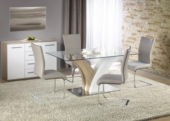 Jedálenský stôl Vilmer - .Jedálenský stôl, 160x90 (biela, dub sonoma, číre sklo)