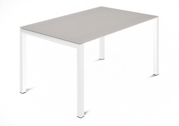 Jedálenský stôl Web - 120 cm (kostra ocel biela/deska leptané sklo šedé)