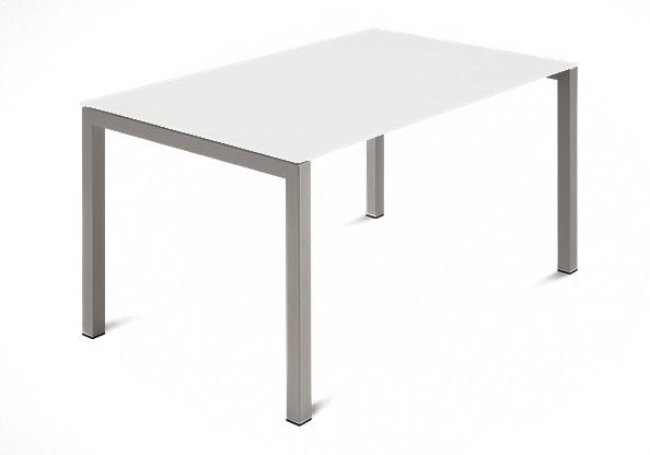 Jedálenský stôl Web - 120 cm (kostra ocel písková/deska leptané sklo biele)