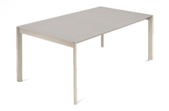 Jedálenský stôl Web - 140 cm (kostra masiv jaseň/deska leptané sklo šedé)