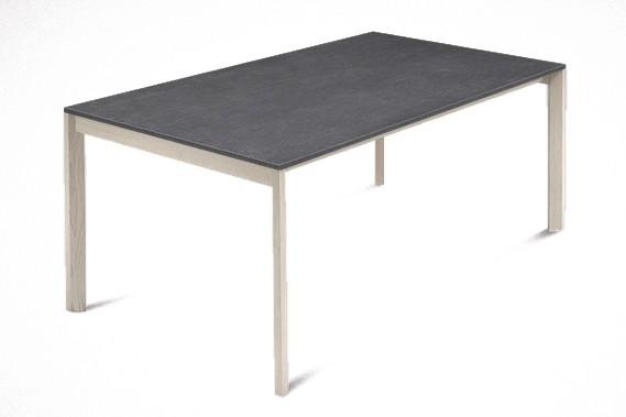 Jedálenský stôl Web - 140 cm (kostra masiv jaseň/deska melamin textura sivá)