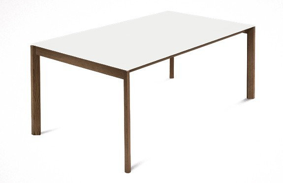 Jedálenský stôl Web - 140 cm (kostra masiv orech/deska leptané sklo biele)