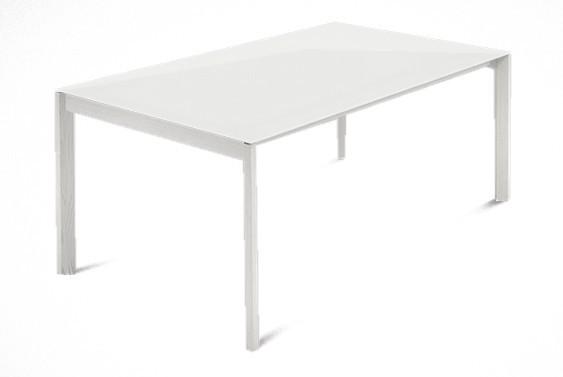 Jedálenský stôl Web - 140 cm (kostra masiv textura biela/deska leptané sklo biele