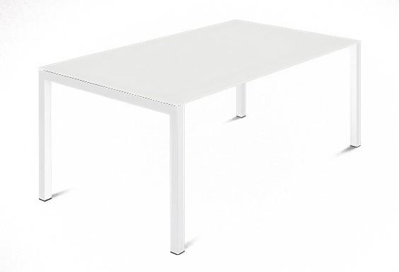 Jedálenský stôl Web - 140 cm (kostra ocel biela/deska leptané sklo biele)