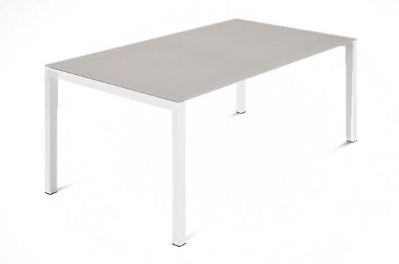 Jedálenský stôl Web - 140 cm (kostra ocel biela/deska leptané sklo šedé)