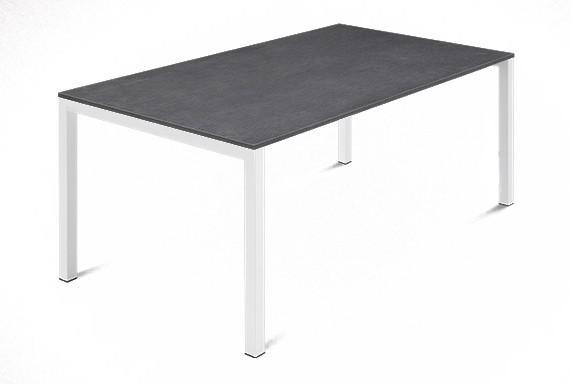Jedálenský stôl Web - 140 cm (kostra ocel biela/deska melamin textura sivá)