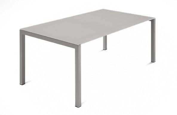 Jedálenský stôl Web - 140 cm (kostra ocel písková/deska leptané sklo biele)