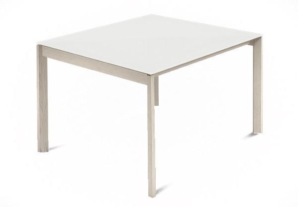 Jedálenský stôl Web - 90 cm (kostra masiv jaseň/deska leptané sklo biele)