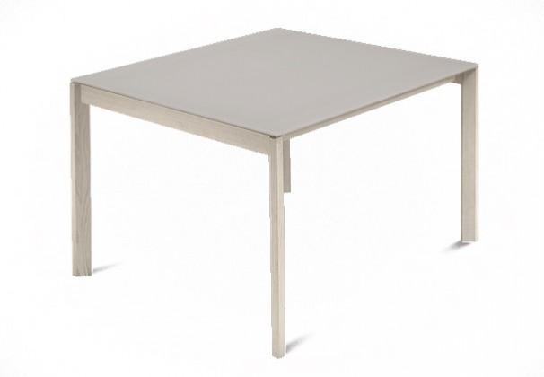 Jedálenský stôl Web - 90 cm (kostra masiv jaseň/deska leptané sklo šedé)
