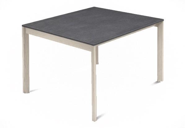 Jedálenský stôl Web - 90 cm (kostra masiv jaseň/deska melamin textura sivá)