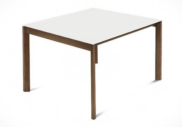 Jedálenský stôl Web - 90 cm (kostra masiv orech/deska leptané sklo biele)