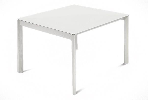 Jedálenský stôl Web - 90 cm (kostra masiv textura biela/deska leptané sklo biele)