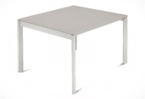 Jedálenský stôl Web - 90 cm (kostra masiv textura biela/deska leptané sklo šedé)
