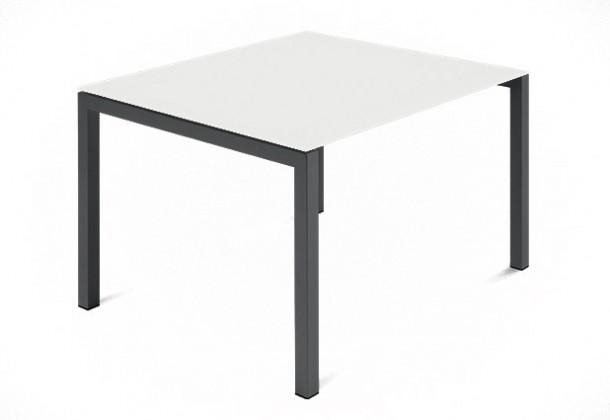 Jedálenský stôl Web - 90 cm (kostra ocel antracit/deska leptané sklo biele)