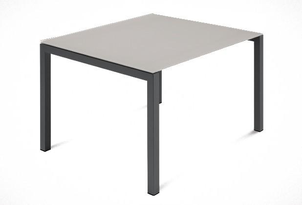 Jedálenský stôl Web - 90 cm (kostra ocel antracit/deska leptané sklo šedé)