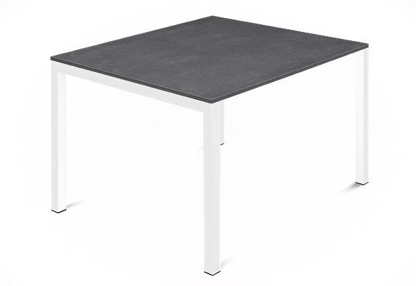 Jedálenský stôl Web - 90 cm (kostra ocel biela/deska melamin textura sivá)