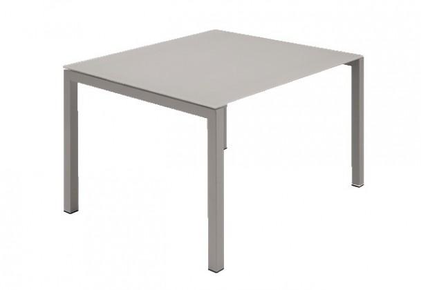 Jedálenský stôl Web - 90 cm (kostra ocel písková/deska leptané sklo šedé)