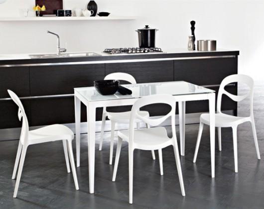 Jedálenský stôl Wind - 130 cm (kostra biela lesk/deska sklo extra biele)