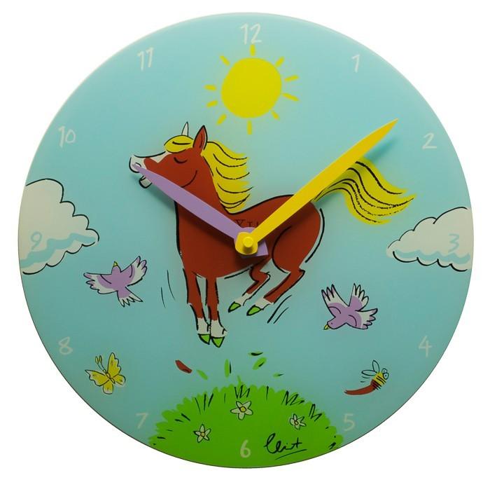 Jump for Joy - hodiny, detské nástenné, guľaté (sklo, farebné)