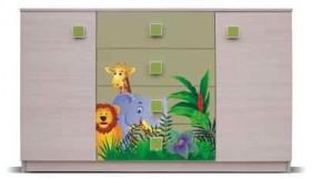 Junior - Komoda, džungľa 7 (breza/zelená)