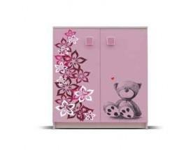 Junior - Komoda, medvedík 8(breza/ružová)