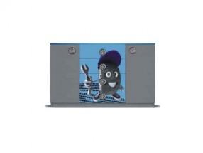 Junior mechanik - Komoda (sivá / modrá, 2x dvere, 4x zásuvka)