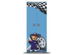 Junior mechanik - Skriňa (sivá / modrá, 2x dvere)