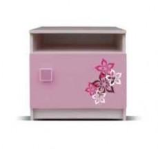 Junior - Nočný stolík, medvedík 17 (breza/ružová)