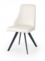 K206 - Jedálenská stolička, bielá (ocel, eko koža)