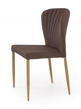 K236 - Jedálenská stolička, hnědá (lakovaná ocel, látka)