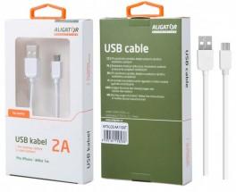 Kábel Aligator Lightning na USB, 1m, biela