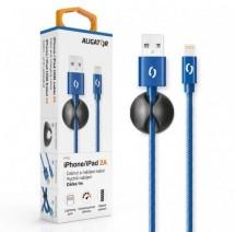 Kábel Aligator Lightning na USB, 2A, 1m, modrá