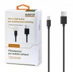 Kábel Aligator Micro USB na USB, 1m, predĺžená koncovka, čierna