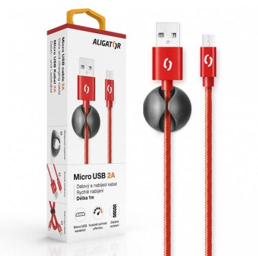 Kábel Aligator Micro USB na USB, 2A, 1m, červená