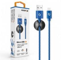 Kábel Aligator Micro USB na USB, 2A, 1m, modrá