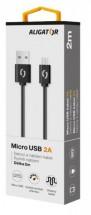 Kábel Aligator Micro USB na USB 2A, 2m, čierna