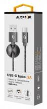 Kábel Aligator Premium USB Typ C na USB 2A, čierna