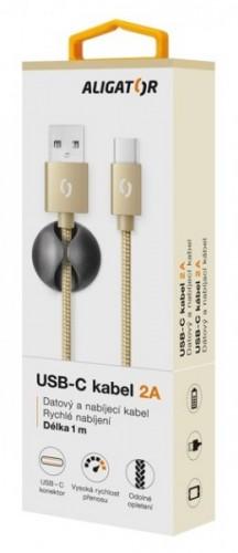Kábel Aligator Premium USB Typ C na USB 2A, zlatá