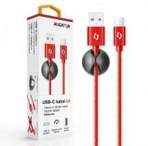 Kábel Aligator USB Typ C na USB, 2A, 1m, červená