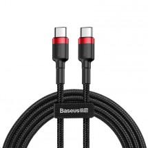 Kábel Baseus Cafule, USB-C na USB-C, 60 W, 2 m, červený/čierny
