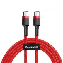 Kábel Baseus Cafule, USB-C na USB-C, 60 W, 2 m, červený