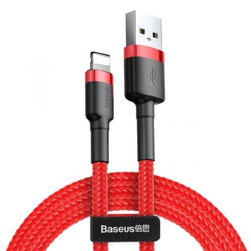 Kábel Baseus Cafule, USB na Lightning, 2, 4 A, 3 m, červený