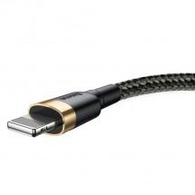 Kábel Baseus Cafule, USB na Lightning, 2, 4 A, 3 m, zlatý/čierny