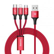 Kábel Baseus, Rapid, 3v1, 3A, 1,2 m, červený