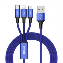 Kábel Baseus, Rapid, 3v1, 3A, 1,2 m,  modrý